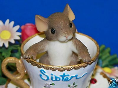 Charming Tails Youre a Sister of Rare Beauty Mouse Teacup Saucer Sculpture Flora