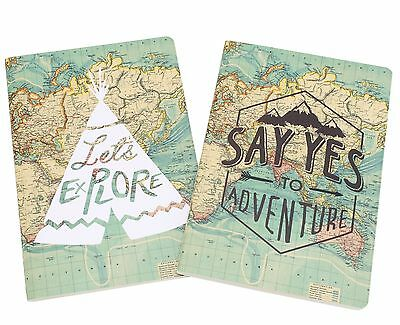 Set of 2 Vintage Map Travel Notebook Gift Joter Journal Diary Adventure