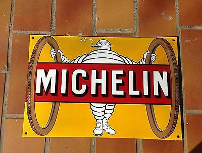 Michelin Man Tires Sign Yellow Raised / Arched metal sign France Vintage