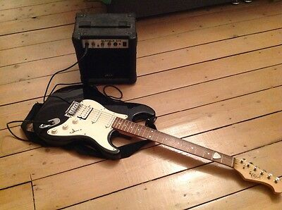 Oldfield guitar and amp with guitar bag
