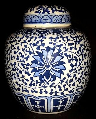 Antique Chinese Kangxi Style Blue And White Ginger Jar