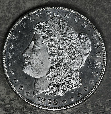 Nice Proof Like 1879-S Morgan Dollar!!  Unc Details very light hairlines