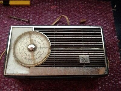 Working Vintage AWA Portable Radio In Blue Case