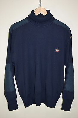 vtg 80s PAUL AND SHARK ORIGINAL CASUALS WOOL ROLL NECK JUMPER SWEATER size SMALL