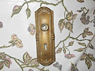 Antique Brass Door Back Plate Ornate Victorian ~Fancy molding~original patina~