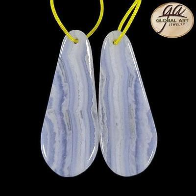 EA22530# 1 Pair Natural Gemstone Blue Lace Agate Designed earrings  Beads