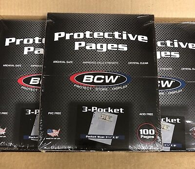 Box of 100 BCW 3-Pocket Currency Album Pages (#699)