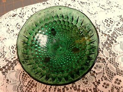 VTG Forest Green Hobnail Teardrop Small Footed Candy Dish Bowl Anchor Hocking