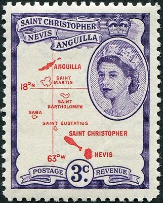 ST. CHRISTOPHER NEVIS AND ANGUILLA 1954-63 QEII 3c carmine-red &... SG109 MH FG