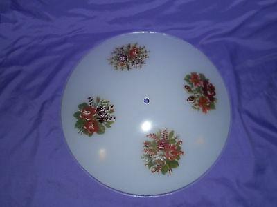 Vtg Round Glass Ceiling Fixture Light Shade Globe 1 Hole Cross Stitch Flower 15""