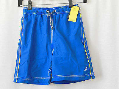 NAUTICA Solid Blue Boys Swim Suit Board Shorts Trunks-Size S(8)-NWT-NEW