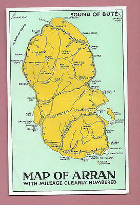 Unused Vintage Postcard - Map Of Arran