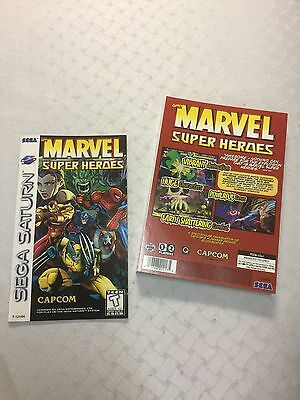 Marvel Super Heroes by Capcom for Sega Saturn MANUAL & BACK INLAY CARD ONLY!!!