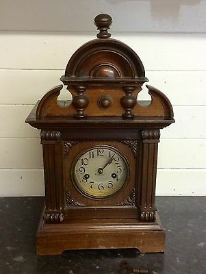 Antique Walnut Cased Mantel Clock With Surmounted Pediment