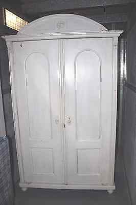 Vintage French Armoire - White / Cream Louis style 2 Door Antique Wardrobe