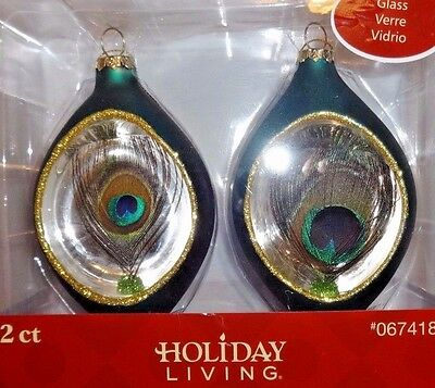 NEW 2  Vintage Look Glass Ornaments Peacock Feathers Teal