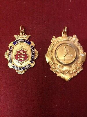 Vintage Watch Fobs/Sporting Medals Hop Skip And Jump Gold Plated