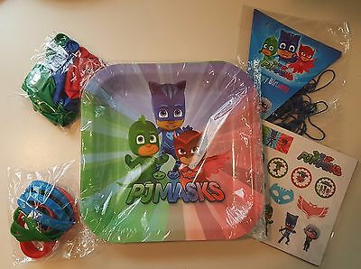 PJ Masks Theme Birthday Party Bundle Supplies For 10 Guests Balloons Stickers