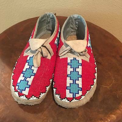 Antique Sioux Beaded Moccasins Buckskin Mens - 1920 Native American Great Plains
