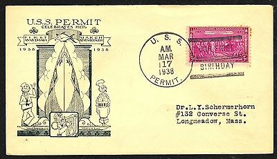 sc# 798 on a US Naval Cover. Submarine, USS Permit. 1938.