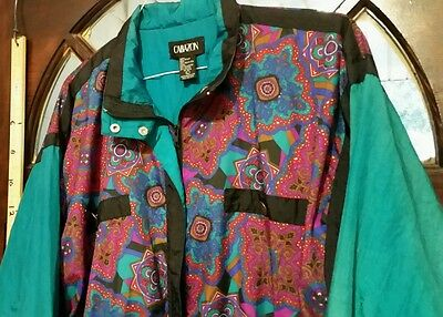 Vtg 80s Windbreaker Track Sz L BOLD blue Pink Purple Coat Jacket CABAZON.  Cb21