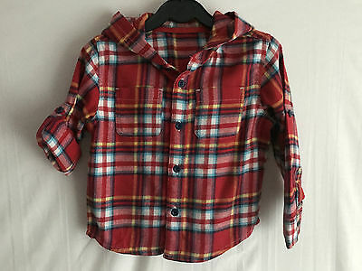 Baby Boys Red Check Hooded Flannel Roll Sleeve Shirt * 18-24 Months * MiniClub