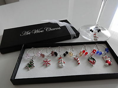 1 Box- 6 Mixed Christmas Wine Glass Charms Gift Table Decorations HIGH QUALITY!