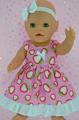 """Play n Wear Doll Clothes To Fit 17"""" Baby Born  STRAWBERRY DRESS~HEADBAND"""