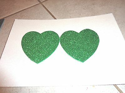 Womens Pasties / Nipple Covers Water Resistant Green Glitter Hearts