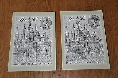 2 X The London 1980 Stamp Postcard with First Day Cover Stamp PHQ 43 (50p) 4/80
