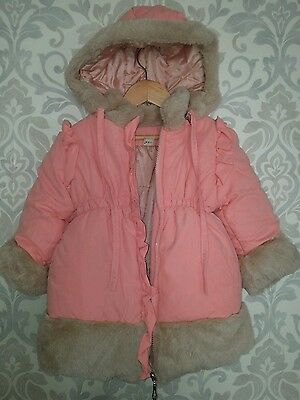 Fur Trimmed Peach Padded Winter Coat Age 3/4 With Detachable Hood