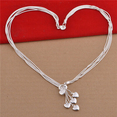 NEW!Beautiful Hanging Hearts Charm Silver Pendant Necklace Jewellery Womens Gift