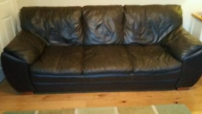 chocolate brown leather 3 piece suite