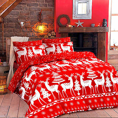 CHRISTMAS Duvet Quilt Cover with PillowCase Bedding Size Double Design CHRISTINE