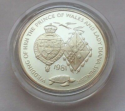 1981 Ascension Island Proof Royal Wedding 25 Pence Silver Coin Free Shipping