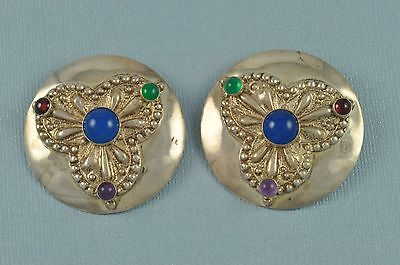 Vintage Modernist TULLA BOOTH Sterling Silver Disc Gemstone Clip Earrings