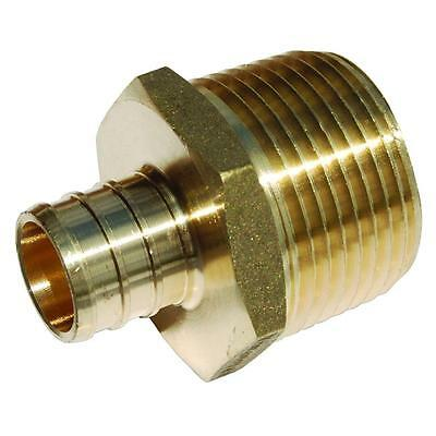 "3/4"" PEX x 1"" Male NPT Threaded Adapter - Brass Crimp Fitting"