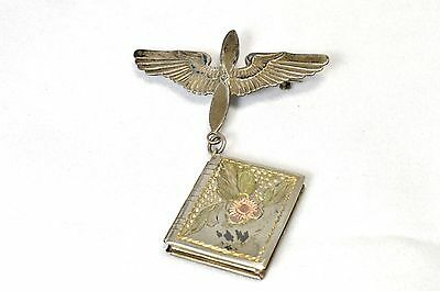 WWII Sterling Silver Sweetheart Pin Wings Book Locket with Pilot Photograph