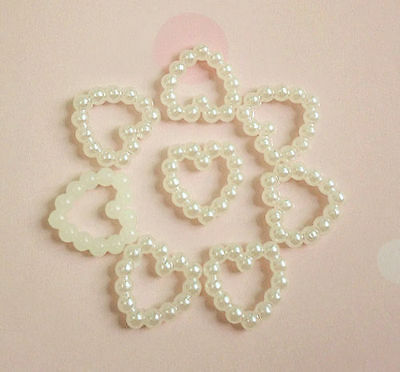 50 Ivory Circle Pearl Love Heart Wedding Table Confetti Scatter Decoration Gift