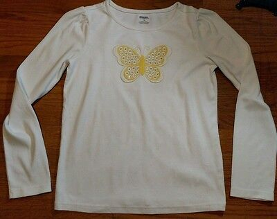Gymboree Girls Size 12 Long Sleeve White And Yellow Butterfly Shirt