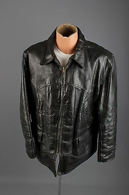 Vtg 50s Men's Rich Sher Steerhide Black Leather Jacket sz L Coat #1976 1950s