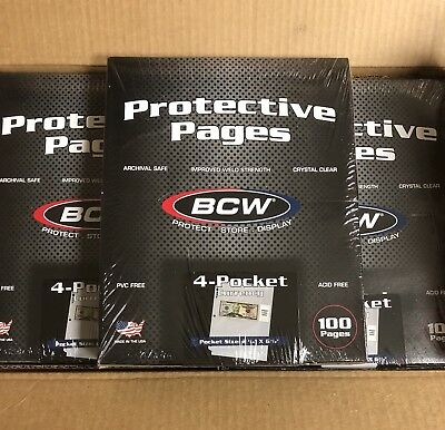Box of 100 BCW 4-Pocket Currency Album Pages (#698)