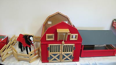 "My Life Horse 12"" Maxim Wood Red Barn Stable Folding Wooden Coral"