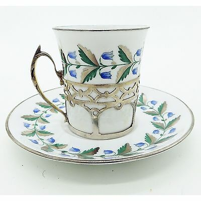 Antique Solid Silver & Porcelain : Art Deco Spode Cup / Saucer & Holder C. 1932