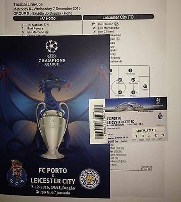 2016 FC PORTO v LEICESTER CITY CHAMPIONS LEAGUE PROGRAMME TICKET TEAMSHEET