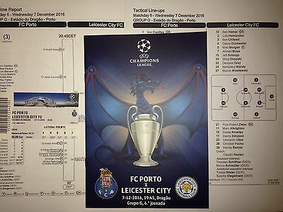 2016 FC PORTO v LEICESTER CITY CHAMPIONS LEAGUE PROGRAMME TICKET TEAMSHEET FULLT