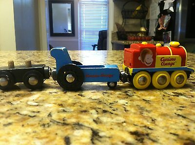Curious George Brio Train wood wooden magnetic use pre-owned RARE toy engine lot
