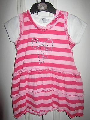 Candy pink stripe dress, two-piece outfit girls 2-3 years, 92/98cm, summer, BNWT