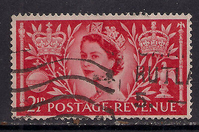 GB 1953 QE2 2 1/2d Red Coronation Comms stamp SG 532.(517 )