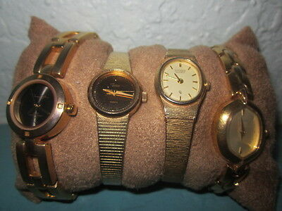Vintage Lot of 4 Womens Gold Watches. Pulsar, Timex, Citizen